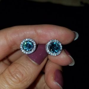 Birthstone aquamarine stud earrings